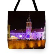 Royal Castle In Warsaw At Night Tote Bag