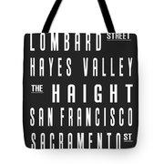 San Francisco City Subway Sign Tote Bag