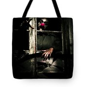 Scary Clown Clawing Window Tote Bag