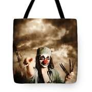 Scary Clown Doctor Throwing Knives Outdoors Tote Bag