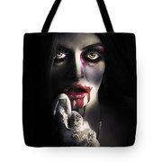 Scary Vampire Woman. Bloody Halloween Horror Tote Bag