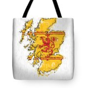 Scotland Painted Flag Map Tote Bag