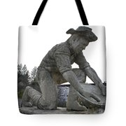 Scuplture Of Gold Rush Miner Claude Chana Tote Bag