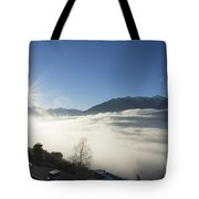 Sea Of Fog With Sunbeam Tote Bag