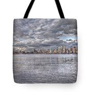 Seattle Cityscape In Clouds Tote Bag