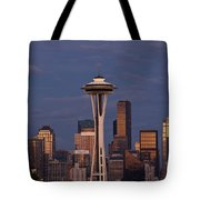 Seattle Skyline And Space Needle With City Lights Tote Bag
