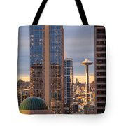Seattle Space Needle Golden Sunset Light Tote Bag