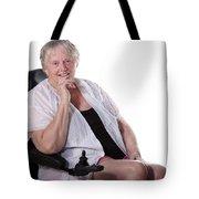 Senior Woman In Wheel Chair Tote Bag