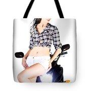Sexy Biker Girl Tote Bag