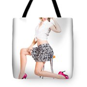 Sexy Brunette Pin Up Girl In Pink Retro Fashion Tote Bag
