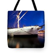 Ship At Night In Stockholm Tote Bag