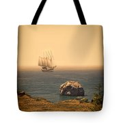 Ship Off The Coast Tote Bag