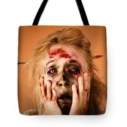 Shocked Horror Halloween Zombie With Hands Face Tote Bag