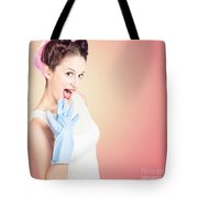 Shocked Pin-up Cleaner Girl With Funny Expression Tote Bag