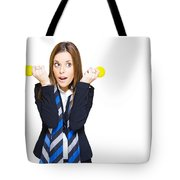 Shocked Woman With Ideas Of Business Innovation Tote Bag