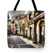 Quiet Shopping Street Before The Shops Open Tote Bag