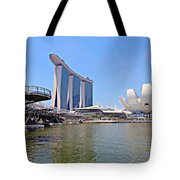 Singapore Artscience Museum Double Helix Bridge And Marina Bay  Tote Bag