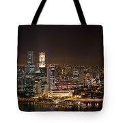 Singapore City Skyline At Night Tote Bag