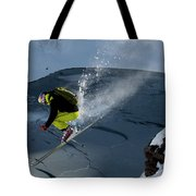 Skier Jumping On A Sunny Day Tote Bag
