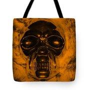 Skull In Orange Tote Bag