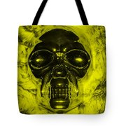 Skull In Yellow Tote Bag