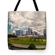 Skyline Of Charlotte Towers Tote Bag