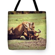 Small Lion Cubs With Mother. Tanzania Tote Bag