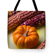 Small Pumpkin And Indian Corn Tote Bag