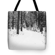 Small Road In A Snowy Forest Tote Bag