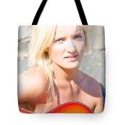 Smiling Female Guitarist Tote Bag