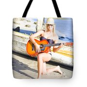 Smiling Girl Strumming Guitar At Tropical Beach Tote Bag