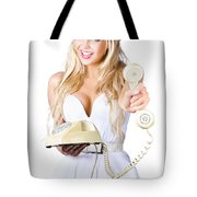 Smiling Woman With Retro Telephone Tote Bag