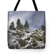 Snow Covered Cliffs And Trees Tote Bag