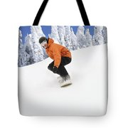 Snowboarder Going Down Snowy Hill Tote Bag