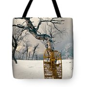 Snowshoes Leaning Against Birch Tree Snowscape Tote Bag