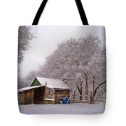 Snowy Day On The Farm Tote Bag