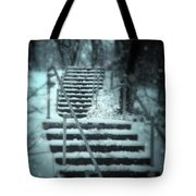 Snowy Stairway Tote Bag
