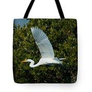 Soaring Snowy Egret Tote Bag