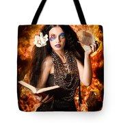 Sorcerer Casting Black Magic Spells Of Fire Tote Bag