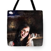 Spooky Girl With Silver Service Bell In Graveyard Tote Bag