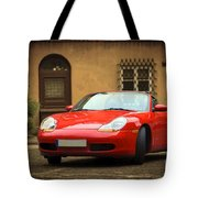 Sport Car In The Old Town Scenery Tote Bag
