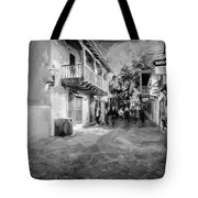 St George Street St Augustine Florida Painted Bw Tote Bag