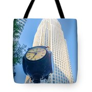 Standing By The Clock On City Intersection At Charlotte Downtown Tote Bag