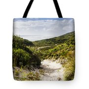 Strahan Coast Landscape Winding To The Ocean Tote Bag
