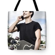 Student Talking To A Friend On Mobile Smartphone Tote Bag