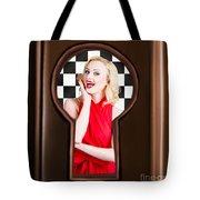 Stylish Surprised Women Portrait. Pinup Secret Tote Bag