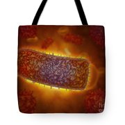 Stylized Rabies Virus Particles Tote Bag by Stocktrek Images