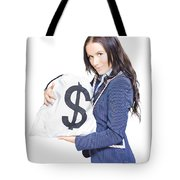 Successful Business Woman Holding Bags Of Money Tote Bag