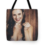 Summer Cafe Woman Eating Breakfast Cereal Tote Bag