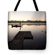 Sunrise In Fog Lake Cassidy With Fisherman In Small Fishing Boat Tote Bag
